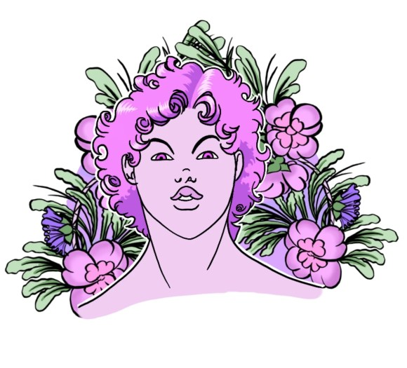 The bust of a youth with curly hair surrounded by flowers