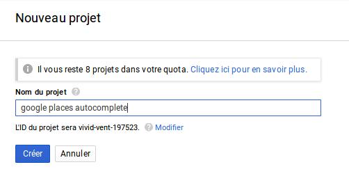 Google place autocomplete : Créer un nouveau projet