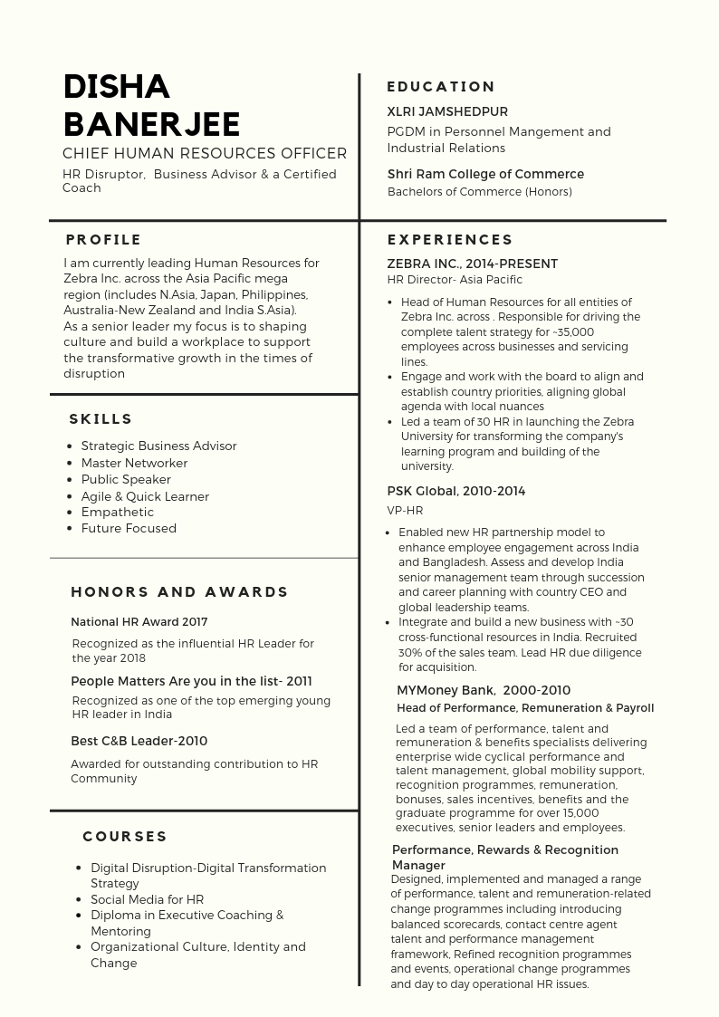 Article The Perfect CHRO Resume People Matters