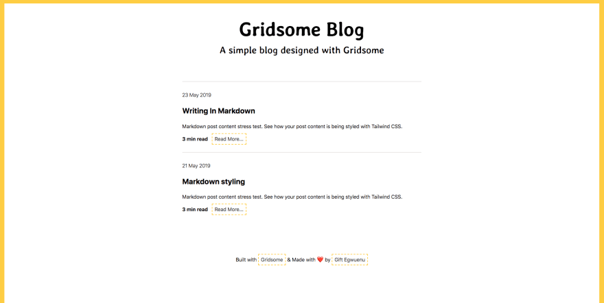Example project Gridsome