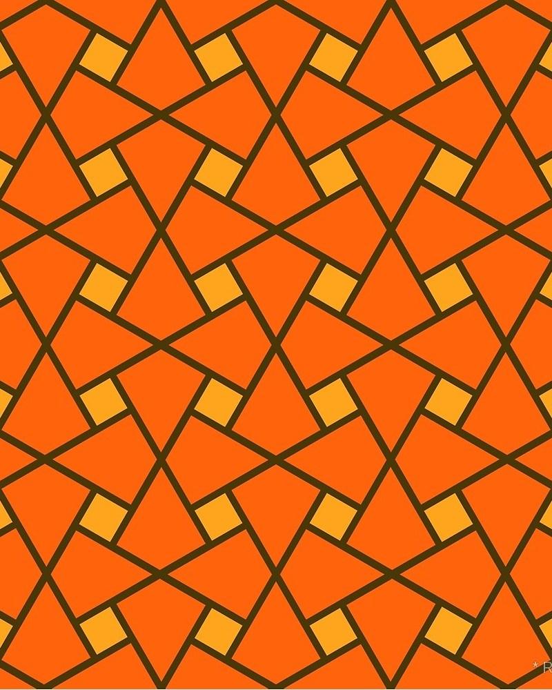 Geometric Pattern: Square Twist / Red Wolf
