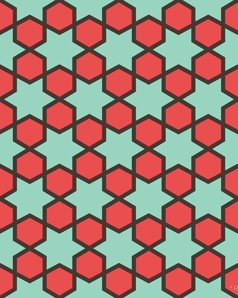 Geometric Pattern: Star Hexagon / Red Wolf