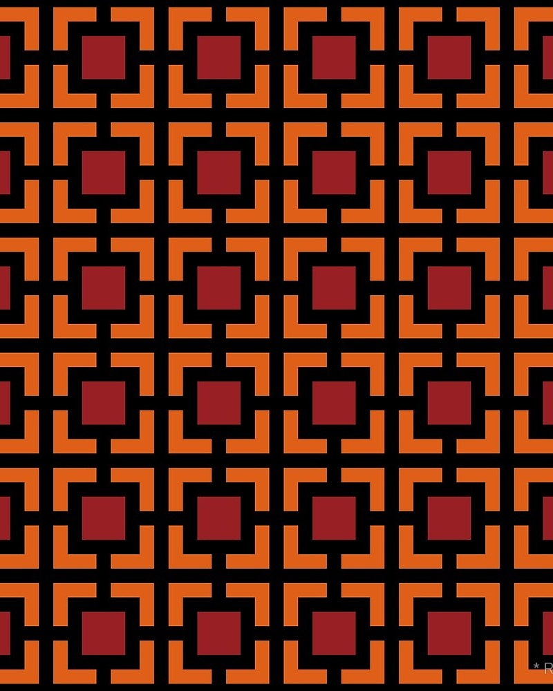 Geometric Pattern: Square Bracket / Red Wolf