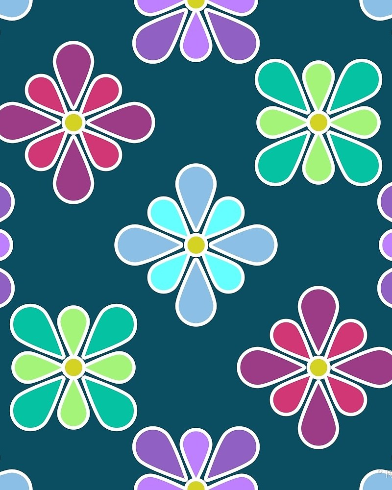 Pastel Flower Patterns / Red Wolf