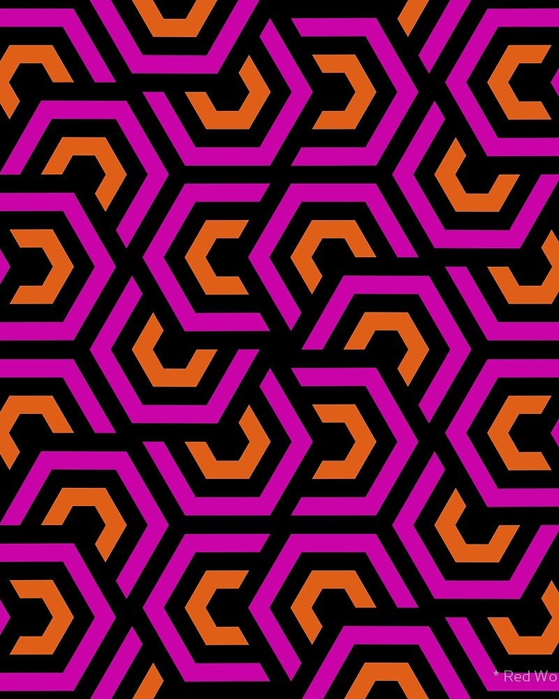 Geometric Pattern: Layered Hexagon / Red Wolf