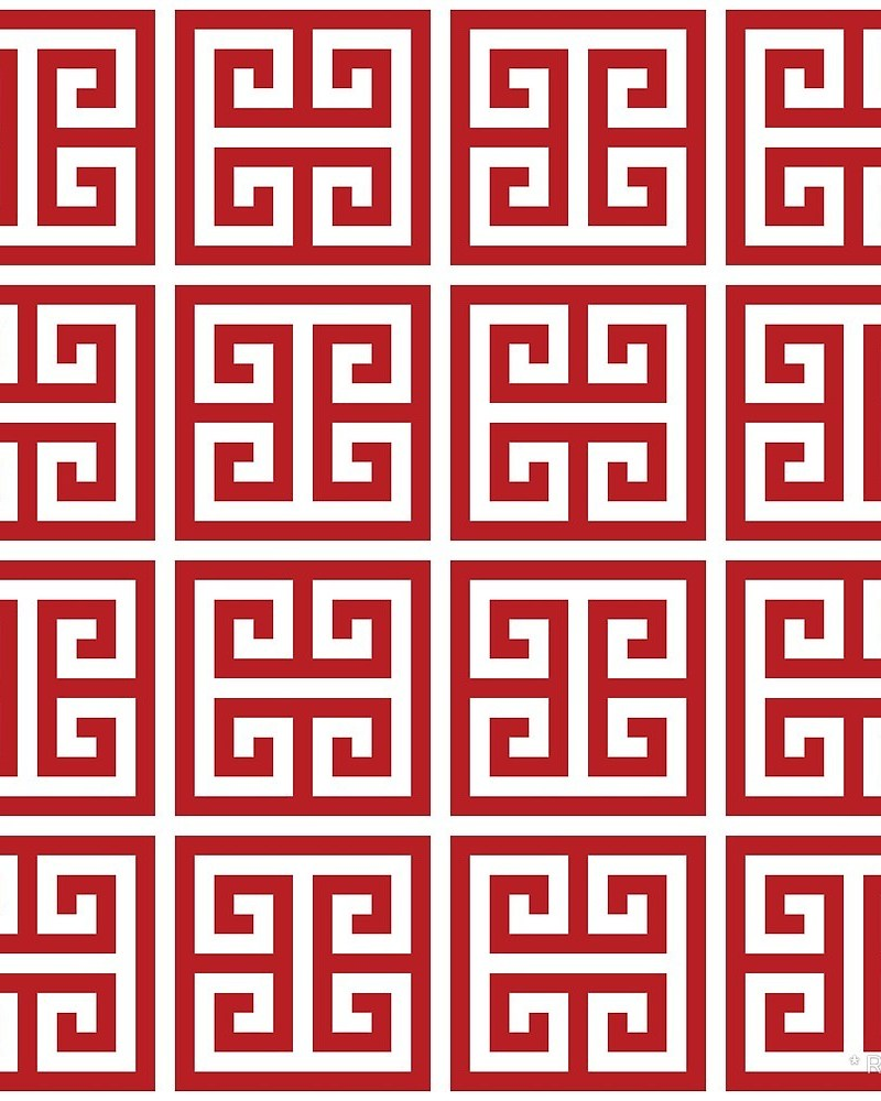 Geometric Pattern: Key Bridge Alternate / Red Wolf