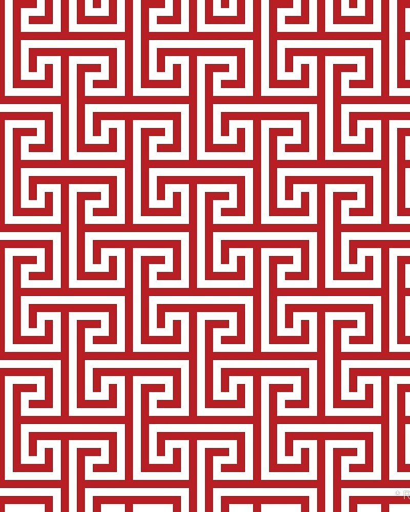 Geometric Pattern: Key Bridge Interlock Positive / Red Wolf