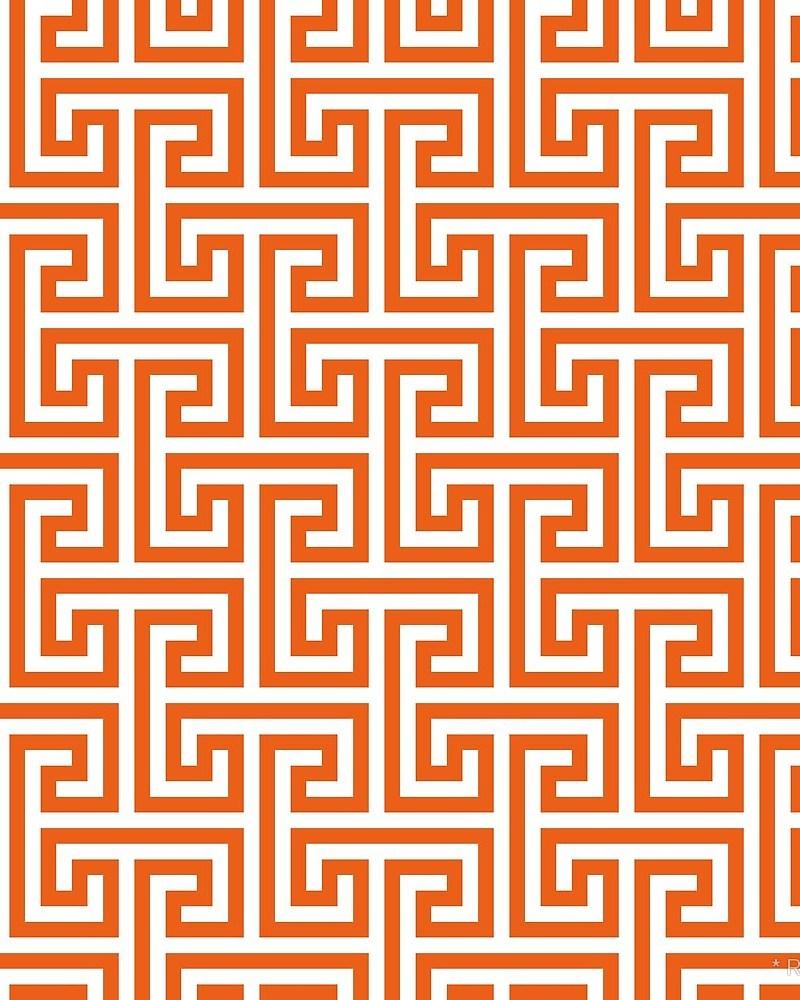 Geometric Pattern: Key Bridge Interlock Negative / Red Wolf