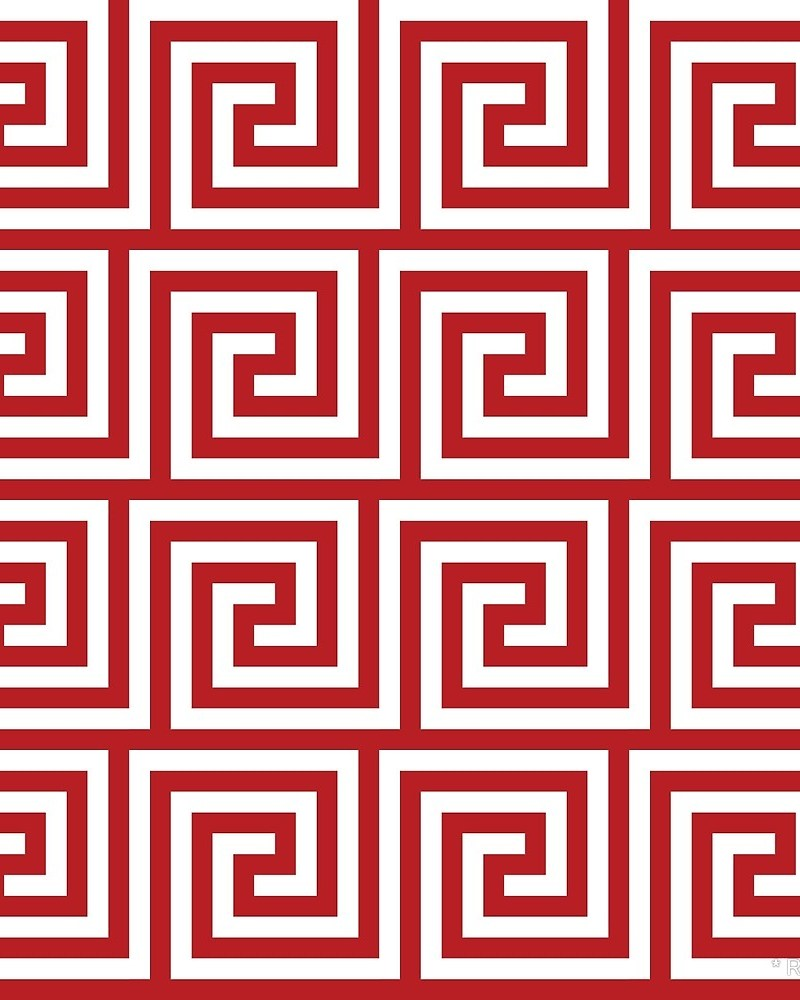 Geometric Pattern: Key Spiral / Red Wolf