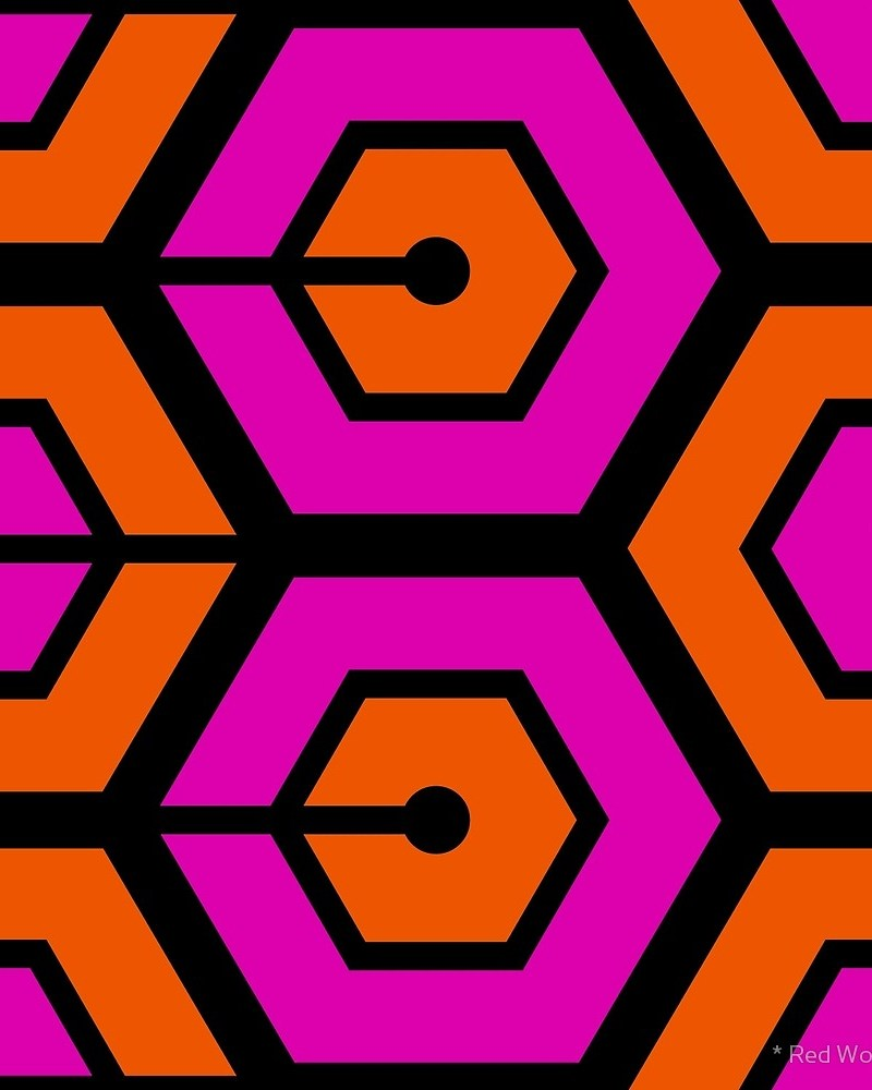 Geometric Pattern: Linked Hexagon / Red Wolf