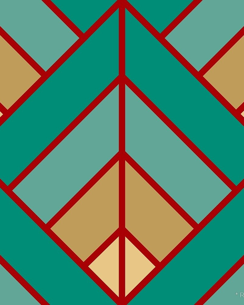 Geometric Pattern: Art Deco Diamond / Red Wolf
