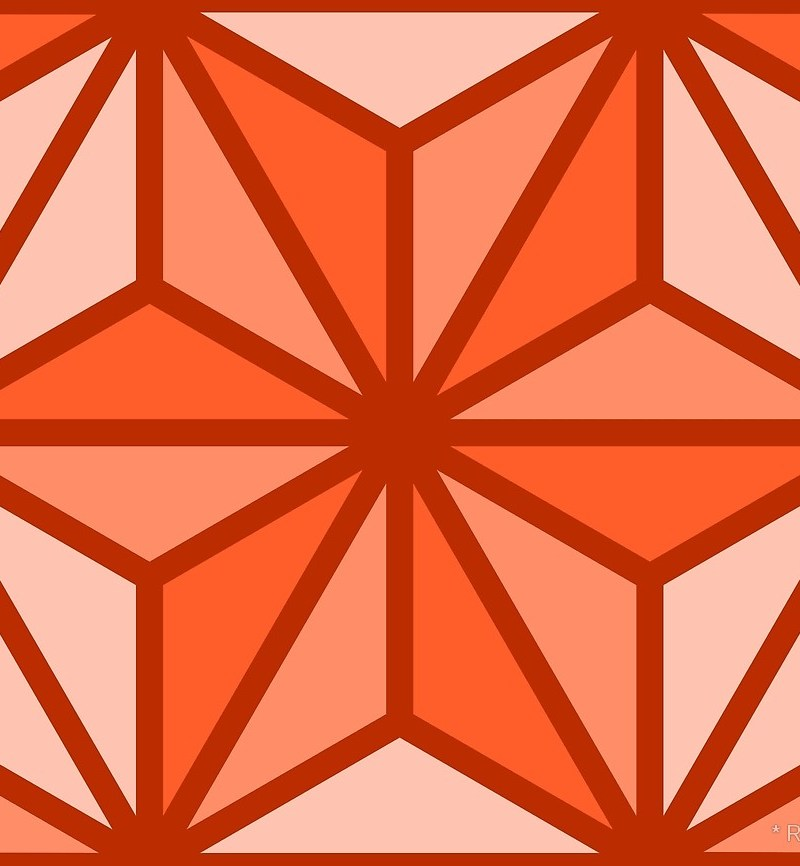 Geometric Pattern: Art Deco Star / Red Wolf