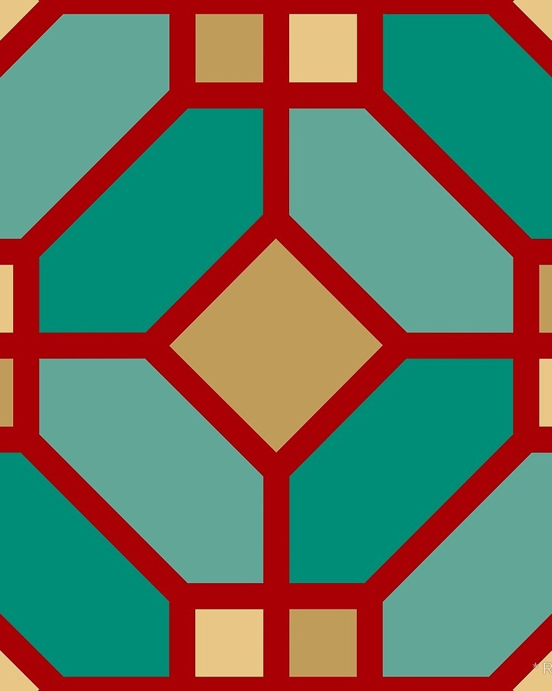Geometric Pattern: Art Deco Tile / Red Wolf