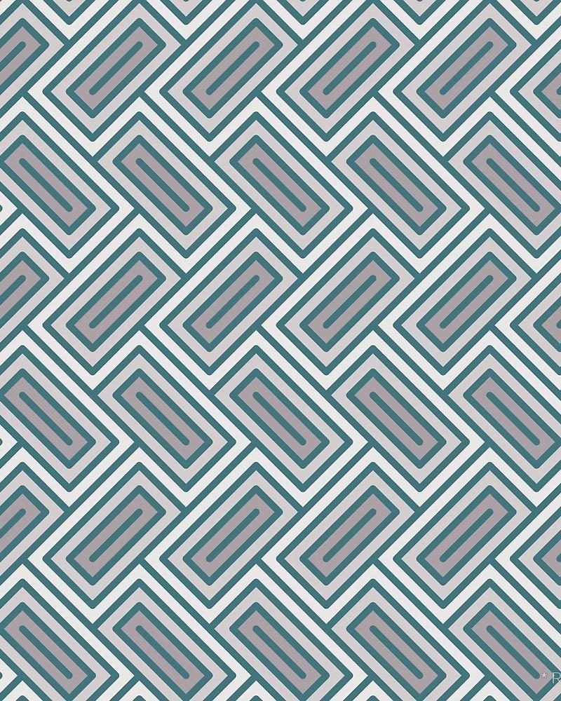 Geometric Pattern: Falling Rectangle / Red Wolf