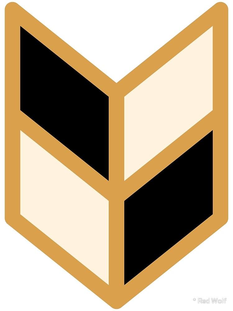 Geometric Pattern: Chevron: Black/Cream/Gold / Red Wolf