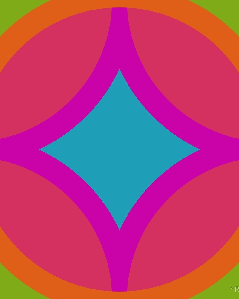 Geometric Pattern: Circle Nested Offset / Red Wolf