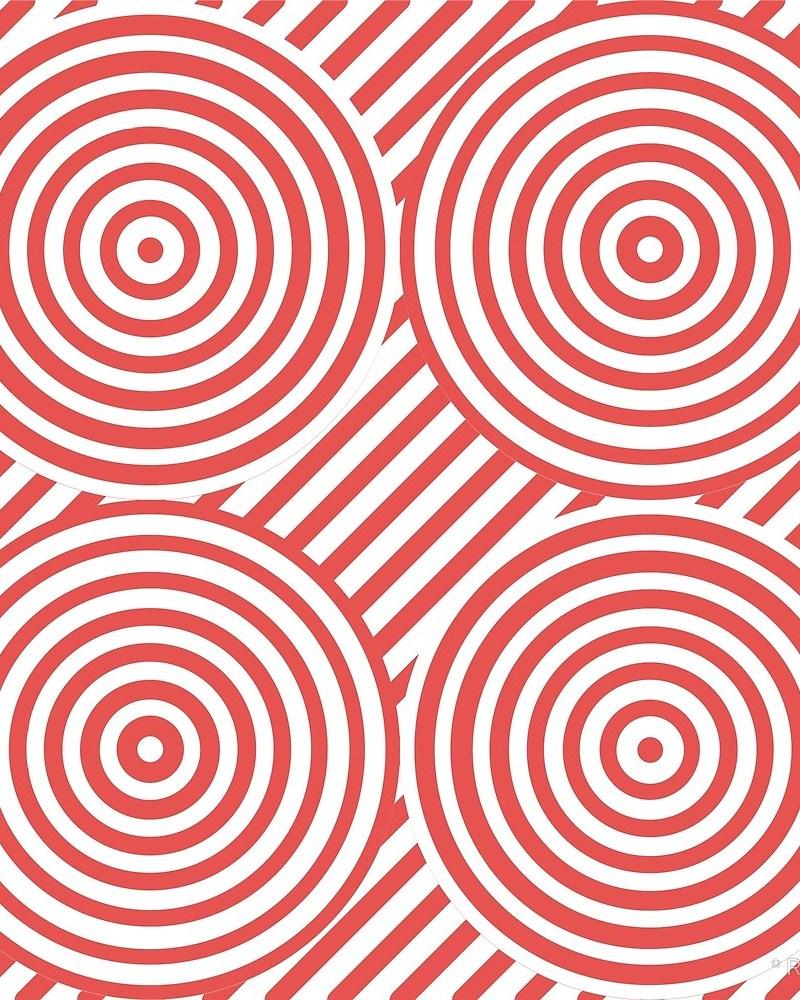 Geometric Pattern: Circle Strobe: Colour/White / Red Wolf