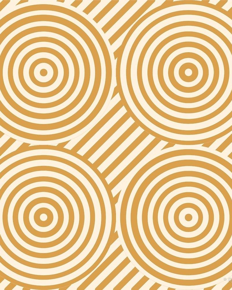 Geometric Pattern: Circle Strobe: Black/Cream/Gold / Red Wolf