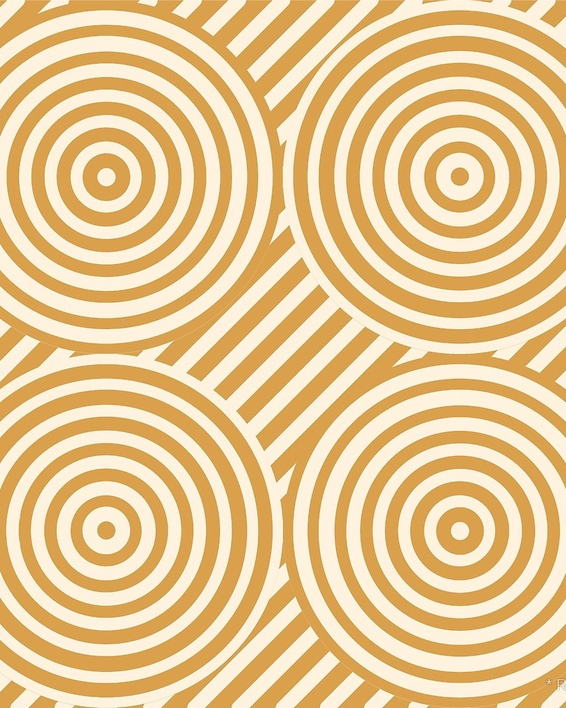 Geometric Pattern: Circle Strobe: Black/Cream/Gold