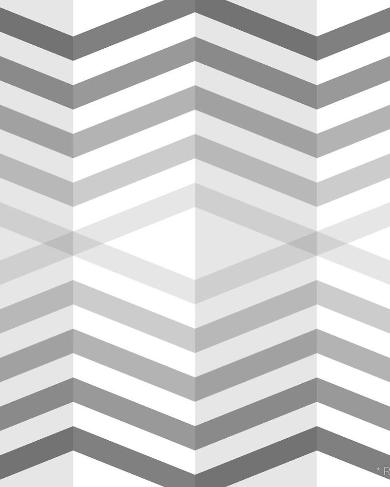 Geometric Pattern: Chevron Cascade: Rainbow + Monochrome / Red Wolf