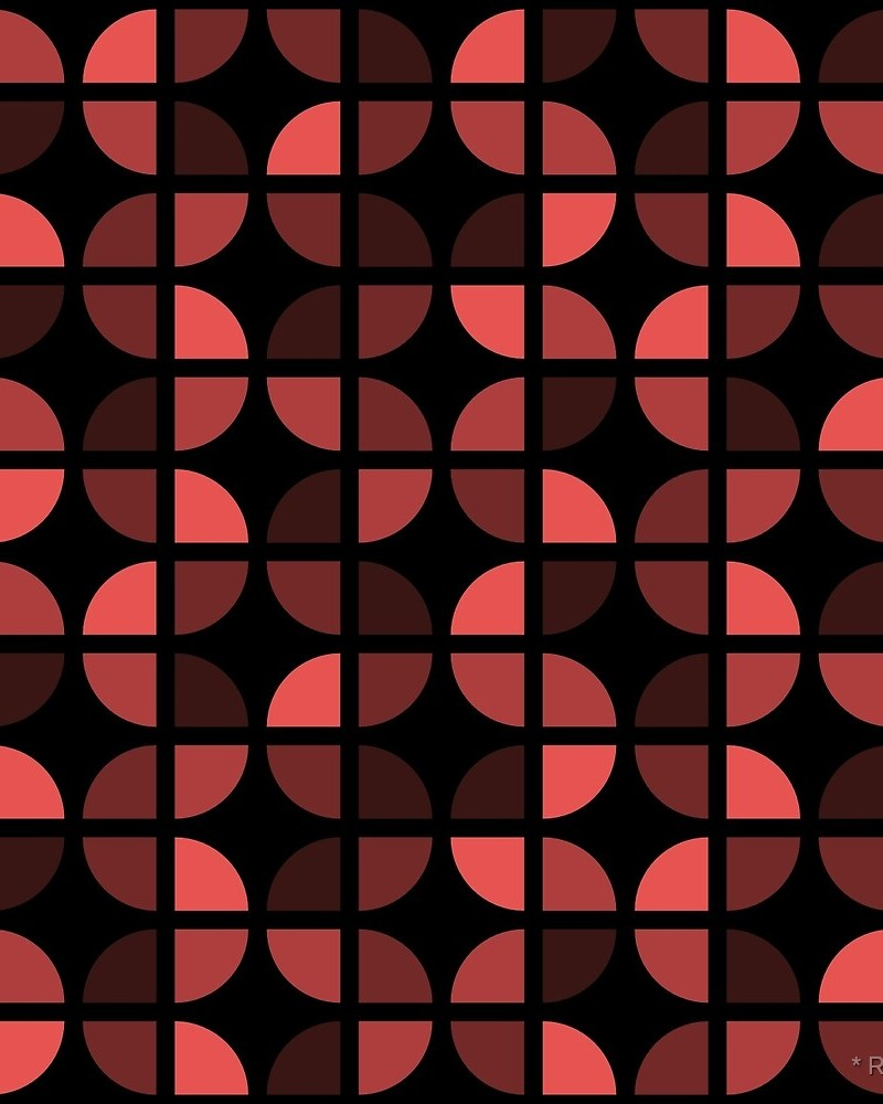 Geometric Pattern: Quarter Circle: Dark / Red Wolf
