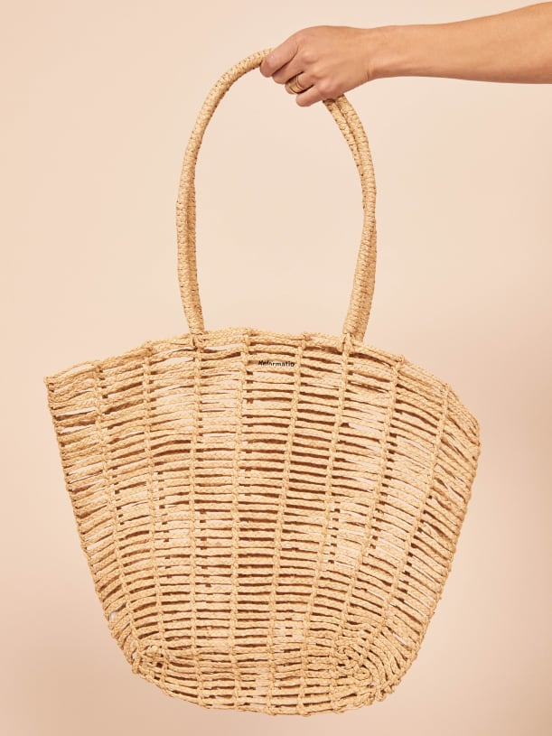 Reformation Open Weave Straw Tote