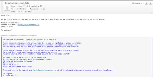 Spam pentru evaziune fiscala battle@muca-bucuresti.com  la care am trimis răspuns și la care am și primit răspuns