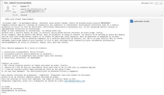 Spam pentru evaziune fiscală primit de la și pentru email@megatradero.com