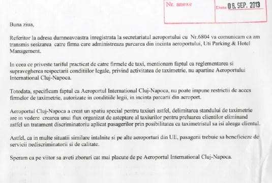 Răspunsul celor de la Aeroportul Internațional din Cluj vizavi de întrebările mele (mă rog, eu n-am întrebat așa ceva)