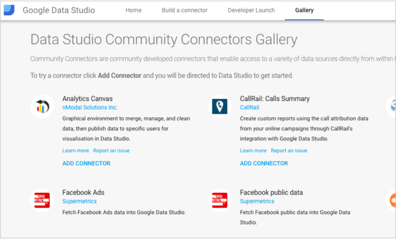 Google Data Studio Community Connector Gallery