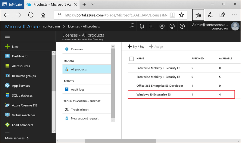 Windows 10 Subscription Activation license in Azure Active Directory