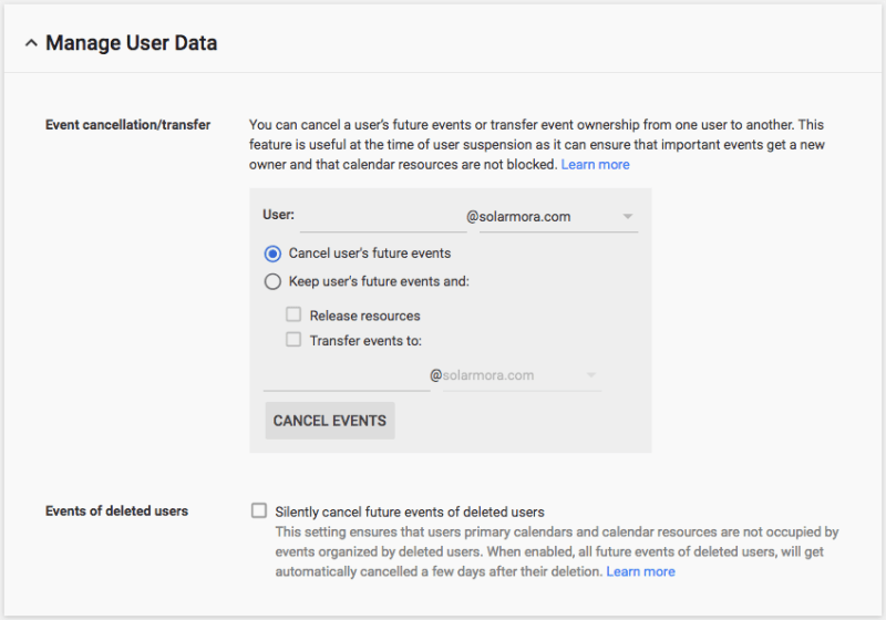 Google Calendar User Data Management