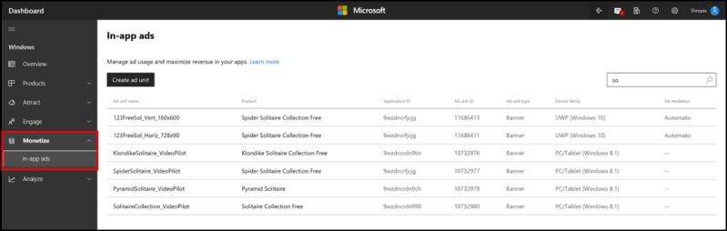 New In-app ads dashboard in Windows Dev Center
