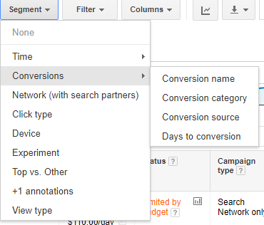 Select days to convert in new AdWords experience