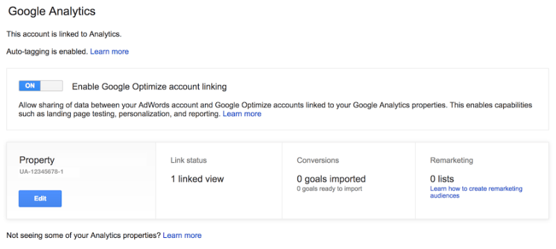 Link Google Optimize account in AdWords