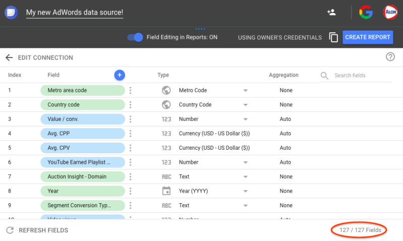AdWords Data Control in Google Data Studio