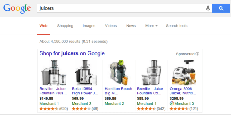product ratings on Google Shopping ads