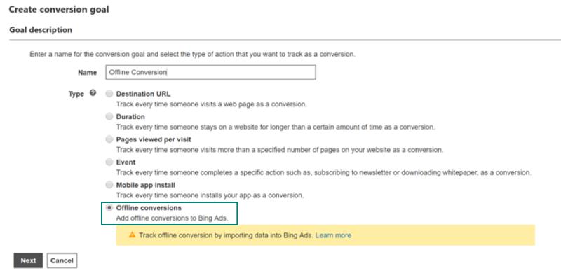 Creating Bings Ads Offline conversions goals