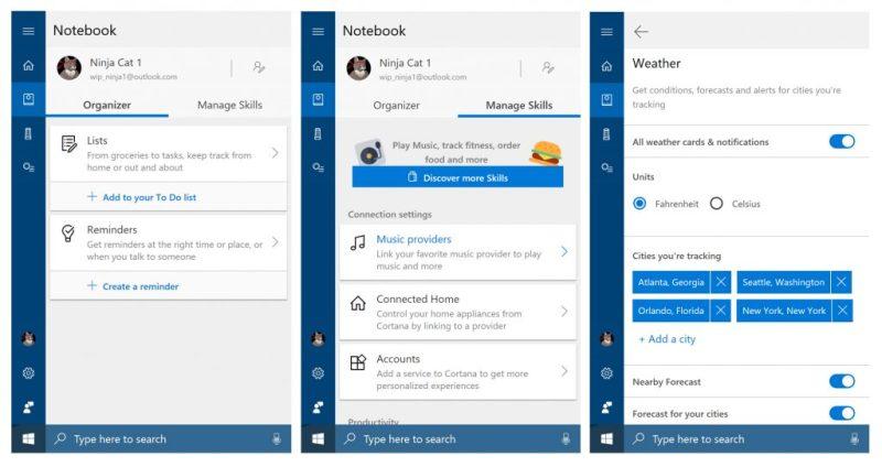 Cortana Notebook Fluet UI