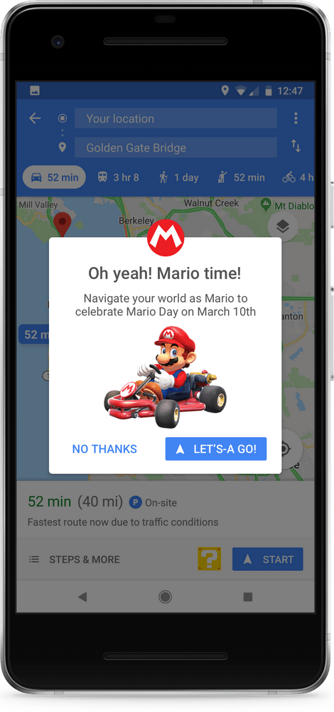Enable Mario on Google Maps Android