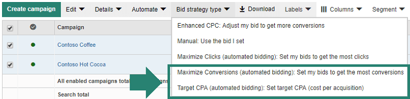Enabling Target CPA and Maximize Conversions for Bing Ads campaigns