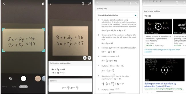 Math Solver on Bing apps for iOS and Android