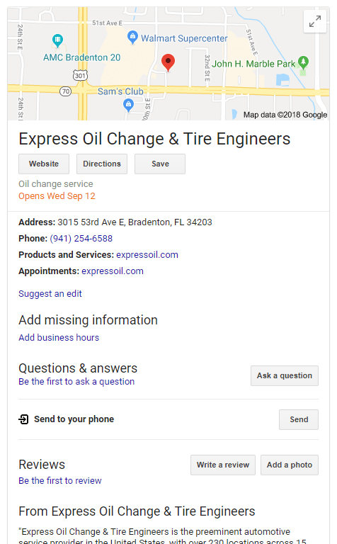Google My Business Local Listing Shows Future Opening Date of a Business