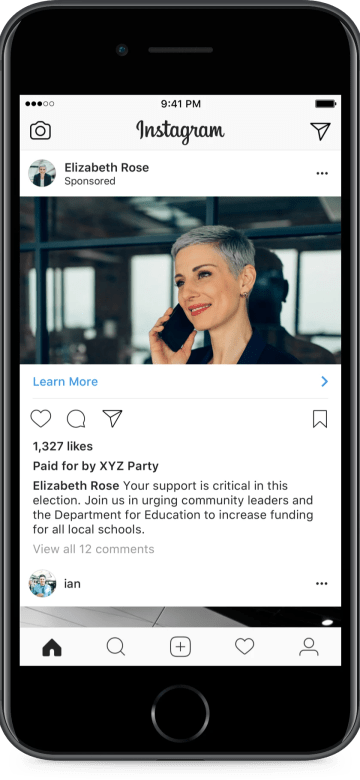 Instagram UK Electoral Ad EXample