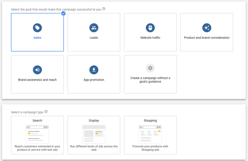 Google Ads Workflow Recommends Matching Campaign Type When Creating Goal-based Advertising Campaigns