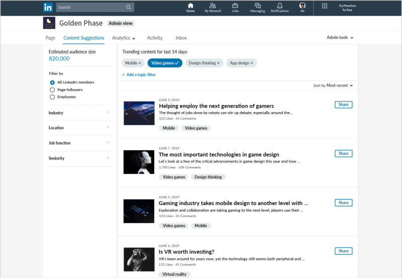 LinkedIn Pages Content Suggestions