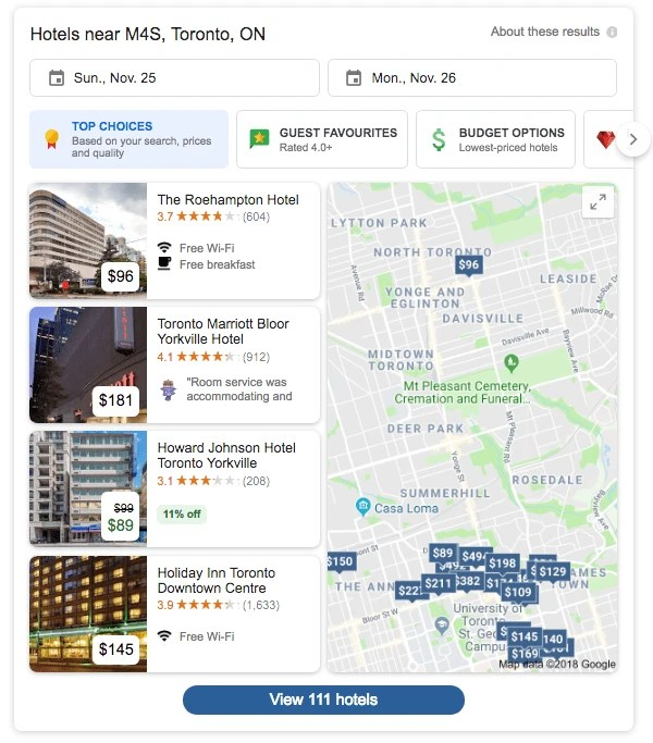 New Google Hotel Local Pack Listing in Google Search