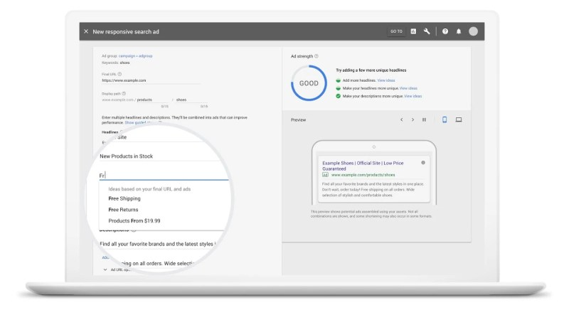 Google auto generated headline and descriptions for responsive search ads