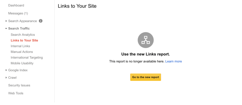 Use new Link Report in Google Search Console