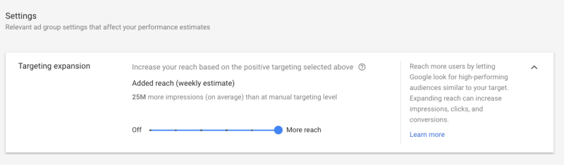 New audience expansion settings for Google Ads Display campaigns